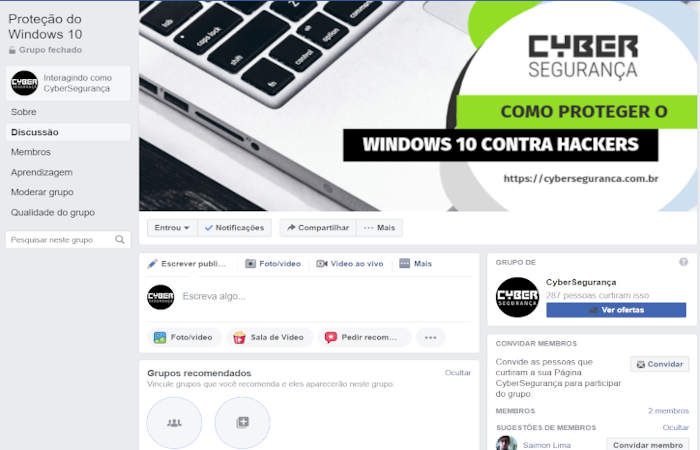 Grupo Facebook do Curso Como Proteger o Windows 10 Contra Hackers